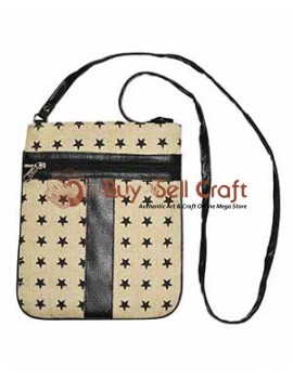 Star Pattern Jute Sling Bag